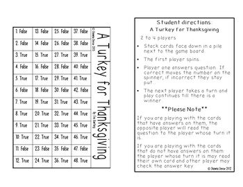 True False Comprehension Game inspired by A Turkey for Thanksgiving