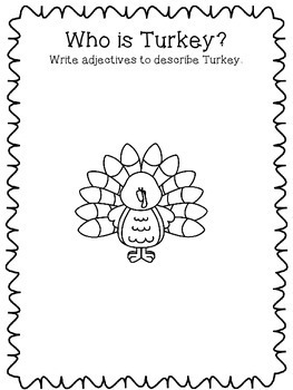 A Turkey for Thanksgiving by Bunting - Extension Activities