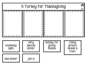 A Turkey for Thanksgiving vocabulary flap book
