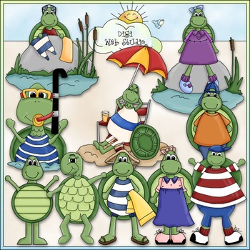 A Turtle's Life Clip Art - Dressed Up Turtles Clip Art - CU Clip Art & B&W