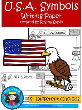 A+ U.S.A. Symbols Writing Paper
