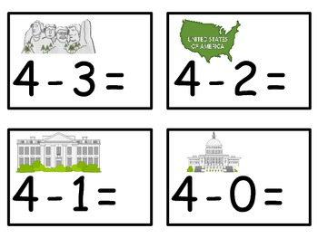 A+  U.S.A. Symbols: Addition & Subtraction Fluency Practice Cards # 0-5