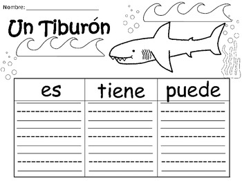 A+ Un Tiburon...Three Spanish Graphic Organizers