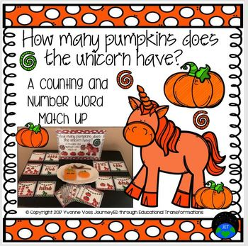 A Unicorn Pumpkin Counting and Number Word Match Up