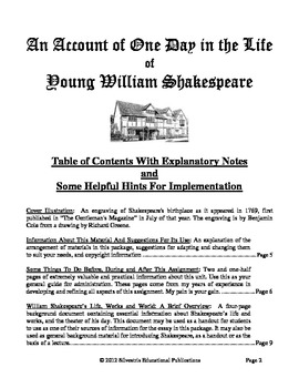 A Unique and Fun Project: One Day in the Life of Young William Shakespeare