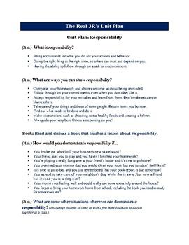 A Unit Plan On Responsibility