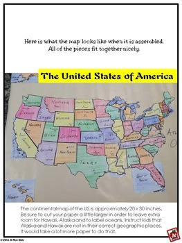 United States Map Puzzle By A Plus Kids Teachers Pay Teachers