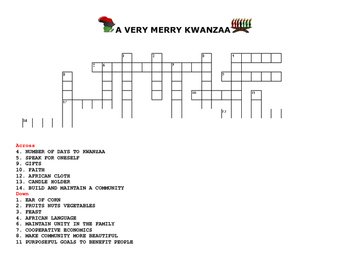 A VERY MERRY KWANZAA CROSSWORD PUZZLE