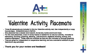 A+ Valentine Activity Placemats
