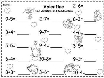 A + Valentine Dino Addition and Subtraction 0-10