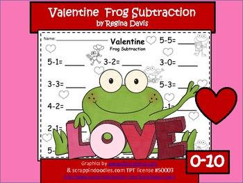 A + Valentine Frog Subtraction 0-10