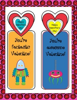 A Valentine From Your Teacher: Robot Themed Bookmarks
