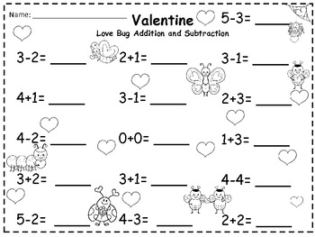 A + Valentine Love Bugs Addition and Subtraction 0-10
