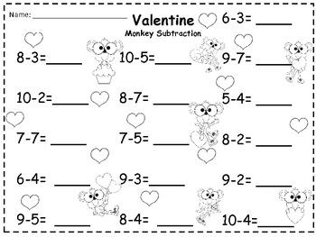 A + Valentine Monkey Subtraction 0-10