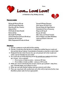 A Valentine's Day Writing Activity