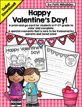 A Valentine's Day Card! A special card for students to give to their parents