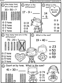 A+  Valentine's Day Place Value Addition and Subtraction