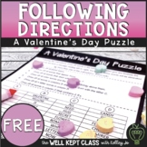 Valentine's Day Following Directions Worksheet