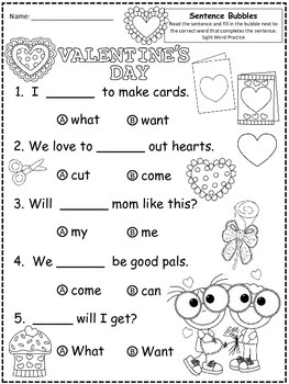 A+ Valentine's Day:Fill In the Blank.Multiple Choice Sight Word Sentences