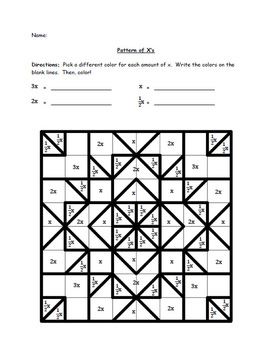 A Variable Visual with Coloring (Design 1) - Colored and Uncolored Worksheets