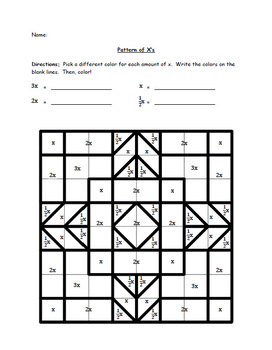 A Variable Visual with Coloring (Design 2) - Colored and Uncolored Worksheets