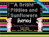 A Very Cute Bright Piggies and Sunflowers Mega Classroom Decor