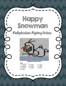 A Very Frozen Winter: Happy Snowman Multiplication Mystery Picture