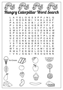 A Very Hungry Caterpillar Word Search