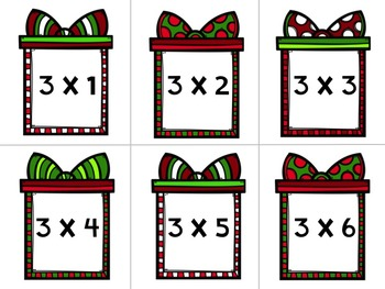 Multiplication Facts:  Memory Game - Holiday Edition