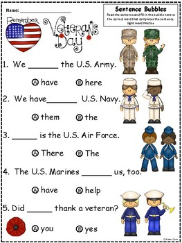 A+ Free...Veterans Day: Fill In the Blank.Multiple Choice Sight Word Sentences