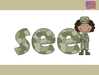 A+ Free...Veterans Day Kindergarten Sight Words