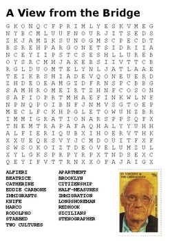 A View from the Bridge Word Search