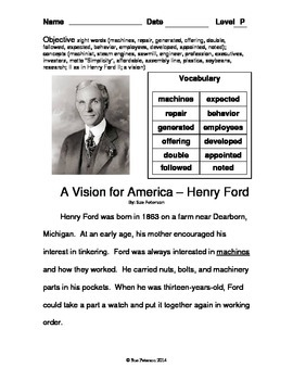 A Vision for America - Henry Ford:  Third Grade Level P Reader