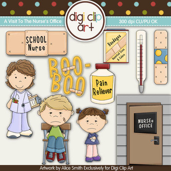 A Visit To The School Nurse's Office -  Digi Clip Art/Digital Stamps - CU