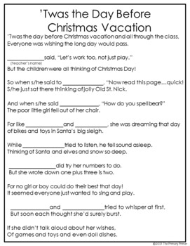 A Visit from Santa Claus {'Twas the Night Before Christmas Classroom Style}