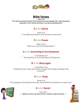 A.W.A.N.A.S.  Weekly Bible Verses for S.P.A.R.K.S. age group
