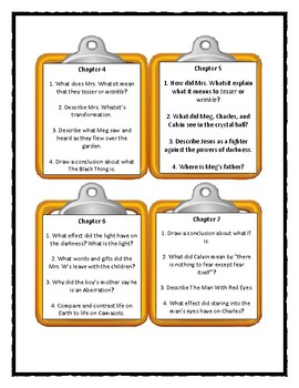 A WRINKLE IN TIME by Madeleine L'Engle - Discussion Cards