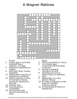 A Wagner Matinee by Willa Cather Guided Reading Worksheet Crossword Wordsearch