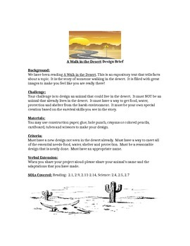 A Walk in the Desert Children's Engineering STEM Design Brief