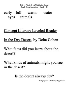 A Walk in the Desert Reading Street Small Group Time Second Grade Unit 1 Week 4