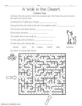A Walk in the Desert Vocabulary Maze