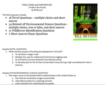 A Walk in the Woods Final Exam & Answer Key