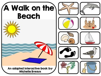 A Walk on the Beach Interactive Adapted Book {special education, SLP, Autism}
