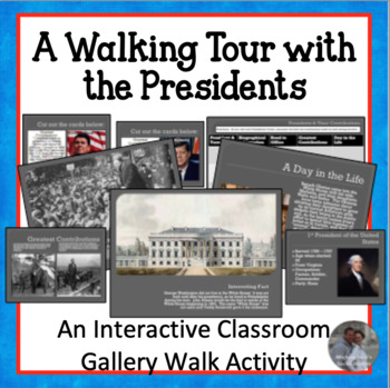 A Walking Tour with the Presidents Centers Activity w/Matching Card Game