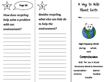 A Way To Help Planet Earth Trifold - Treasures 2nd Grade U