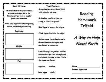 A Way to Help Planet Earth Reading Trifold