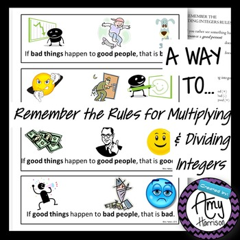 A Way to Remember Multiplying/Dividing Integer Rules Poster