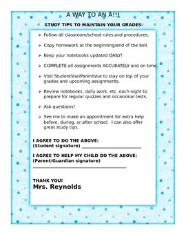 A Way to an A / Student Parent Agreement / Back to School