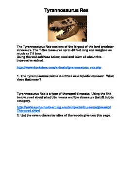 Tyrannosaurus Rex-Webquest