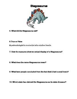 Stegosaurus-Webquest